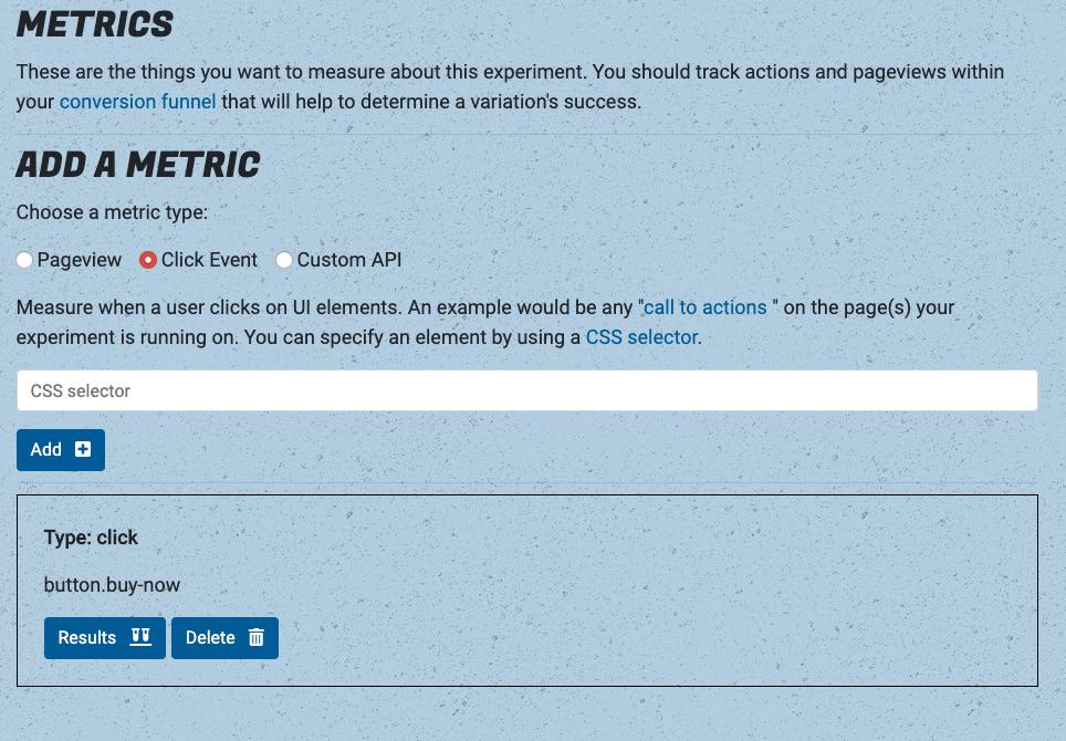 Click event metrics