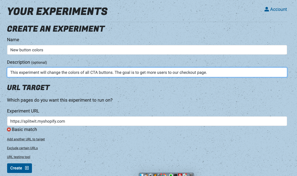 Create your experiment