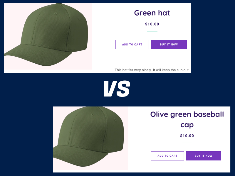 comparing product titles on an ecommerce product page