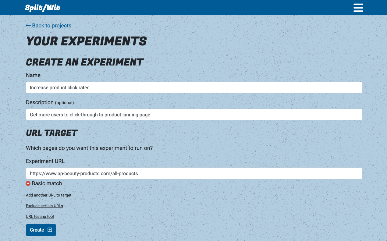 Create an experiment