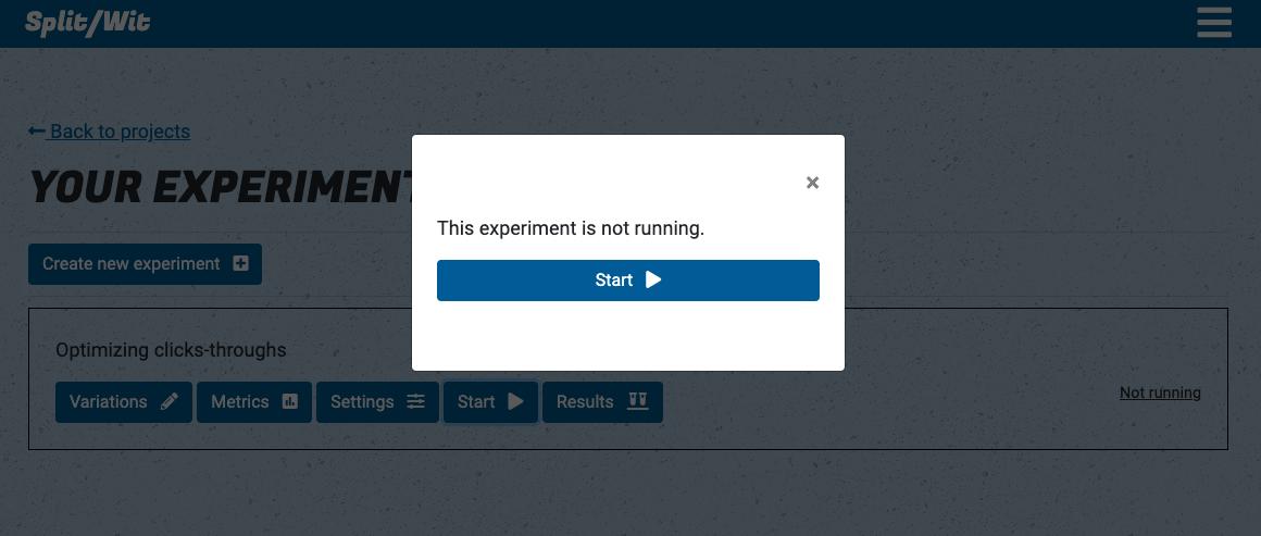 Start an experiment