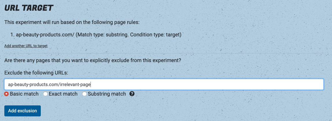 Exclude URLs from experiments