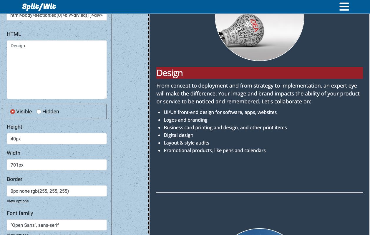 SplitWit visual editor